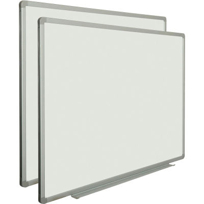 Global Industrial™ Magnetic Whiteboard - 48 x 36 - Steel Surface - Aluminum Frame - Pack of 2
