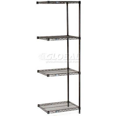 "Nexel® Black Epoxy Wire Shelving Add-On 24""W x 18""D x 74""H"