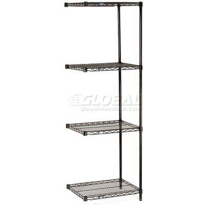 "Nexel® Black Epoxy Wire Shelving Add-On 24""W x 18""D x 63""H"