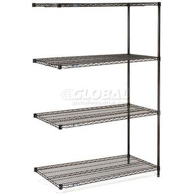 "Nexel® Black Epoxy Wire Shelving Add-On 54""W x 14""D x 74""H"