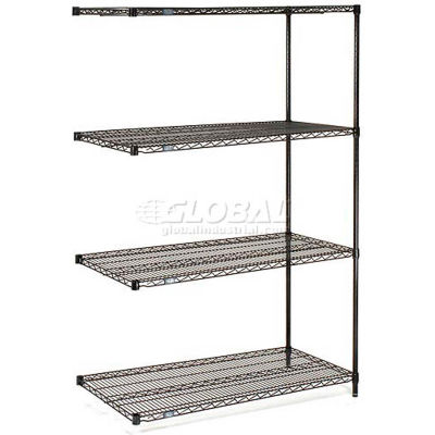 "Nexel® Black Epoxy Wire Shelving Add-On 54""W x 14""D x 63""H"