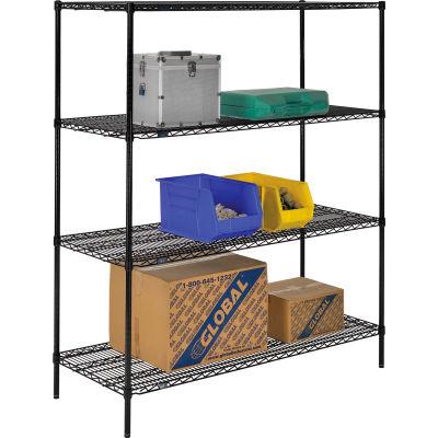 """Nexel® Black Epoxy Wire Shelving Starter 60""""W x 24""""D x 74""""H"""