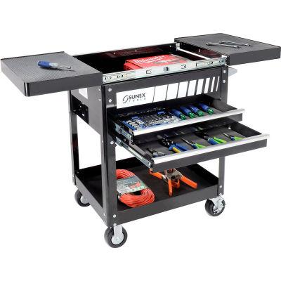 "Sunex Tools 8035 29"" 2 Drawer Slide Top Black Tool Cart W/ 5"" Casters"