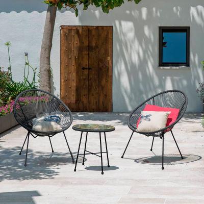 DUKAP® Outdoor Sassio 3 Piece Conversation Patio Set, Gray