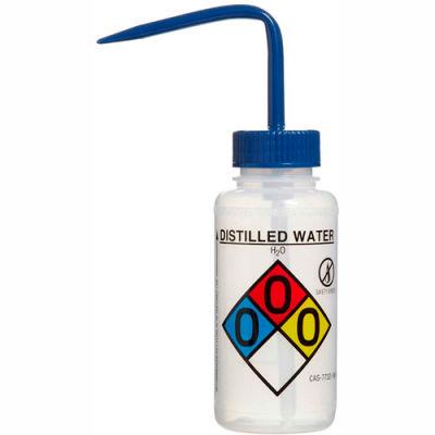 Bel-Art LDPE Wash Bottles 118080004, 250ml, Distilled Water Label, Blue Cap, Wide Mouth, 4/PK