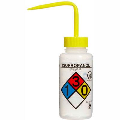 Bel-Art LDPE Wash Bottles 118080008, 250ml, Isopropanol Label, Yellow Cap, Wide Mouth, 4/PK