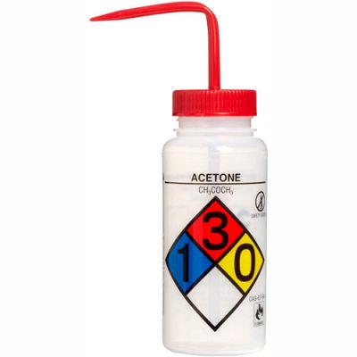 Bel-Art LDPE Wash Bottles 118160001, 500ml, Acetone Label, Red Cap, Wide Mouth, 4/PK