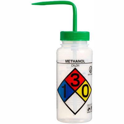 Bel-Art LDPE Wash Bottles 118160011, 500ml, Methanol Label, Green Cap, Wide Mouth, 4/PK