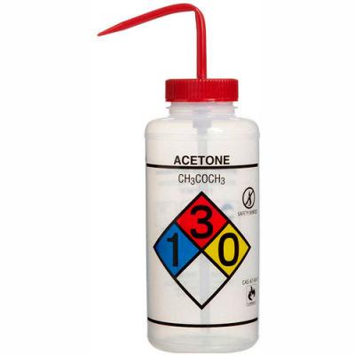 Bel-Art LDPE Wash Bottles 118320001, 1000ml, Acetone Label, Red Cap, Wide Mouth, 2/PK