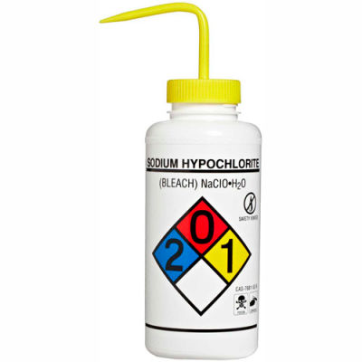 Bel-Art LDPE Wash Bottles 118320015, 1000ml, Sodium Hypochlorite Label, Yellow Cap, Wide Mouth, 2/PK