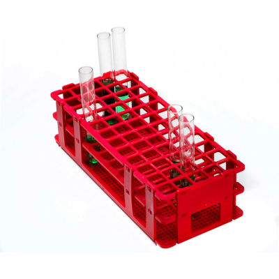 Bel-Art No-Wire™ PP Test Tube Rack 187460001, For 13-16mm Tubes, 60 Places, Red, 1/PK