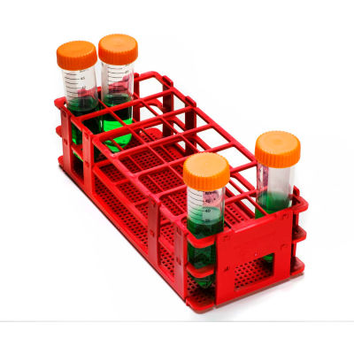 Bel-Art No-Wire™ PP Test Tube Rack 187460004, For 25-30mm Tubes, 21 Places, Red, 1/PK