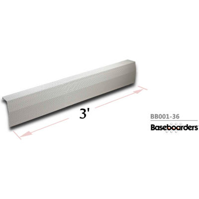 Baseboarders® Premium Series 3 ft Steel Easy Slip-on Baseboard Heater Cover, White