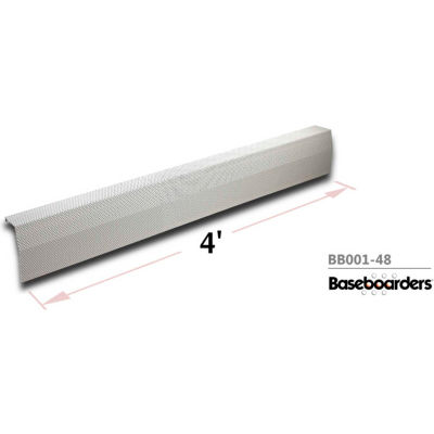 Baseboarders® Premium Series 4 ft Steel Easy Slip-on Baseboard Heater Cover, White