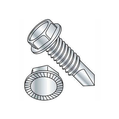"""1/4-14 x 2-1/2"""" Self-Drilling Screw - Unslotted Ind. Hex Washer Head - 410 Stainless Steel - 100 Pk"""