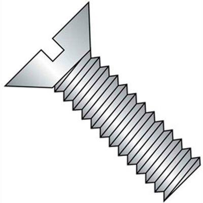 "10-24 x 1/2"" Machine Screw - Flat Head - Slotted - Brass - Plain - Pkg of 100 - BBI 116033"
