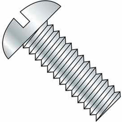 "3/8-16 x 1-1/4"" Machine Screw - Round Head - Slotted - Steel - Zinc CR+3 - FT - 100 Pk - BBI 583837"
