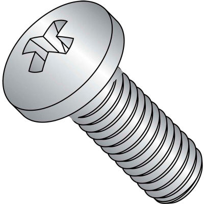 Machine Screw - M6 x 1.00 x 16mm - Phillips Pan Head - Class 4.8 - Steel - Zinc - DIN 7985A - 200 Pk