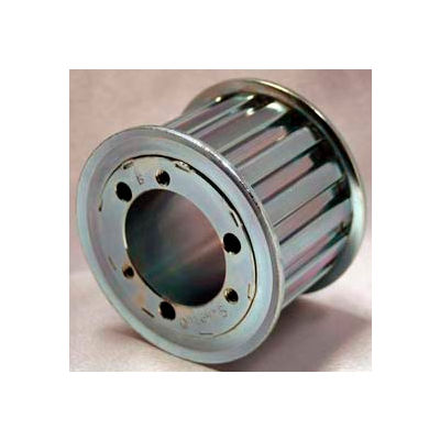 """16 Tooth Timing Pulley, (H) 1/2"""" Pitch, Clear Zinc Plated Steel, Qd16h100 - Min Qty 3"""