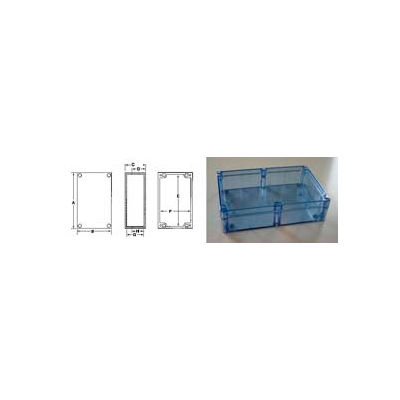 "Bud Bt-2734 Blue Transparent Nema 4x Box 7.87"" L X 4.72"" W X 2.95"" H - Min Qty 4"