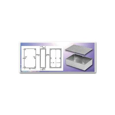 """Bud Cu-123-G Econobox Die Cast Aluminum Enclosure 3.62"""" L X 1.50"""" W X 1.21"""" H Gray - Min Qty 13"""
