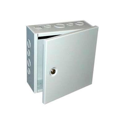 "Bud Jbh-4954-Ko Nema 1 Sheet Metal Box With Hinged Cover And Knockouts 6"" W X 3"" D X 6"" H -Min Qty 7"