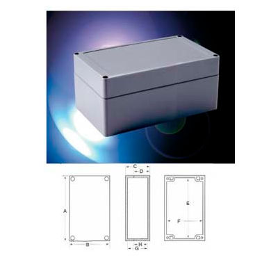 "Bud Pnr-2604 Nema 4x-Pnr Series Box 7.87"" L X 4.72"" W X 3.54"" H Light Gray Body And Cover-Min Qty 5"