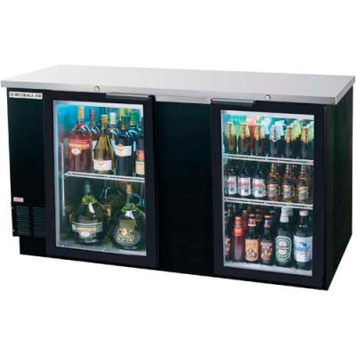"Glass Door Back Bar Refrigerator BB-G Series, 72""W - BB72HC-1-G-B"