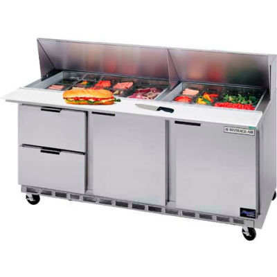 "Beverage Air® SPED72HC-08-2 Food Prep Tables Sped72 Elite Series Standard Top W/ Drawers, 72""W"