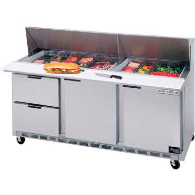 "Beverage Air® SPED72HC-24M-4 Food Prep Tables Sped72 Elite Series Mega Top W/ Drawers, 72""W"