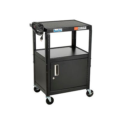 """Steel Cart, Adj. 26"""" To 42"""" w/ Locking Security Cabinet And Electric"""