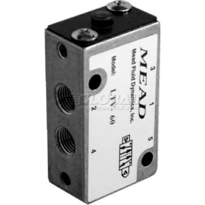 "Bimba-Mead Air Valve LTV-60, 5 Port, 2 Pos, Air Pilot Valve, 1/8"" NPTF Port, Sngl Pressure Actr"