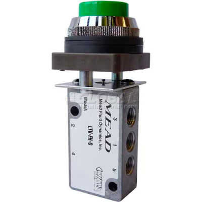 "Bimba-Mead Air Valve LTV-FHR, 5 Port, 2 Pos, Manual, 1/8"" NPTF Port, Red Flush Head Actr"