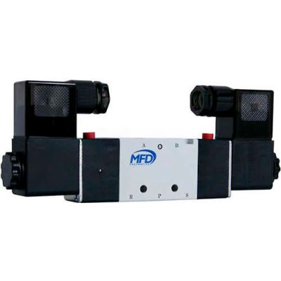 "Bimba-Mead Pilot Solenoid Valve M4V320-10-24VDC, 5 Port, 2 Pos, Dbl, 3/8"" NPT, 1/4"" NPT Exh, 24VDC"