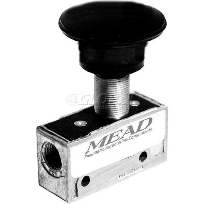 "Bimba-Mead Air Valve MV-140, 3 Port, 2 Pos, Manual, 1/8"" NPTF Port, Palm Actuator"