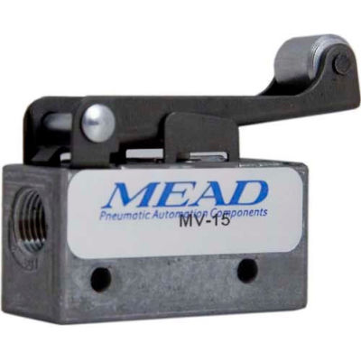 "Bimba-Mead Air Valve MV-15, 3 Port, 2 Pos, Mechanical, 1/8"" NPTF Port, Roller Leaf Actuator"