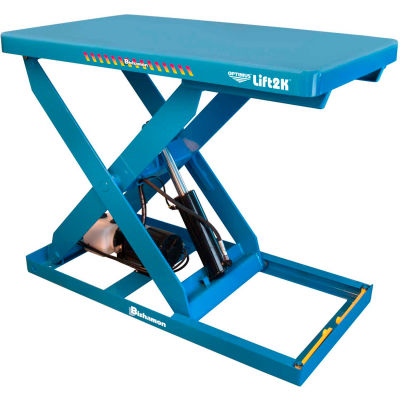 "Bishamon® OPTIMUS Hand Control Power Scissor Lift Table, 48 x 28"", 2000 Lb. Cap."