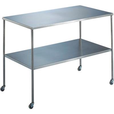 "Blickman 7829SS Howard Instrument Table with Shelf, 30""L x 16""W x 34""H"