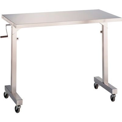 """Blickman 7896SS-O Adjustable Height Instrument Table, 34""""L x 36""""W x 36""""- 56""""H"""