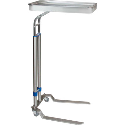 """Blickman 8867SS Benjamin Foot Operated Stainless Steel Mayo Stand, 12-5/8"""" x 19-1/8"""" Tray"""