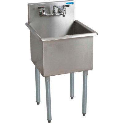 BK Resources® 1-Compartment Budget Sink, 24 X 24 X 14 Deep, 8 Faucet Holes, Galvanized Legs