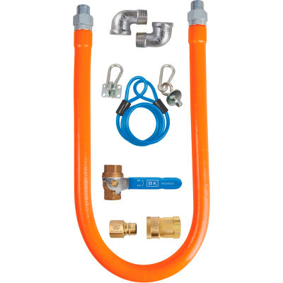 """BK Resources 1"""" x 36"""" Commercial Gas Hose Kit CSA and ANSI Approved, BKG-GHC-10036-SCK3"""