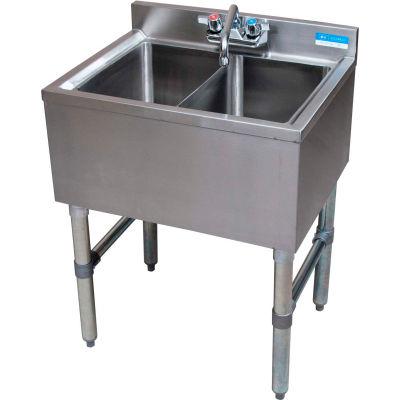 """BK Resources BKUBW-224S,  Stainless Steel Underbar 2-Comp Sink-24""""Lx18-1/4""""Wx32-1/2""""H"""