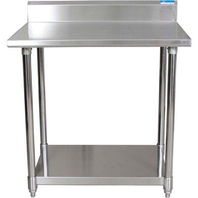 "BK Resources Workbench W/Undershelf, 16 Ga. 304 Series Stainless, 5"" Backsplash, 60""Wx30""D"