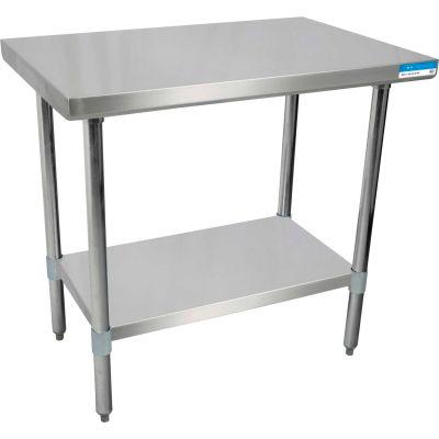 "BK Resources SVT-2424 18 Gauge Workbench 430 Stainless Steel - Adjustable Shelf 24""W x 24""D"