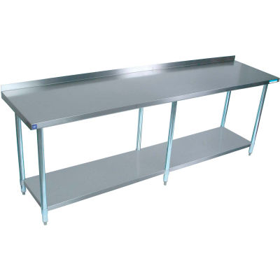 "BK Resources Workbench W/Undershelf, 18 Ga. 430 Series Stainless, 1-1/2"" Backsplash, 96""Wx18""D"