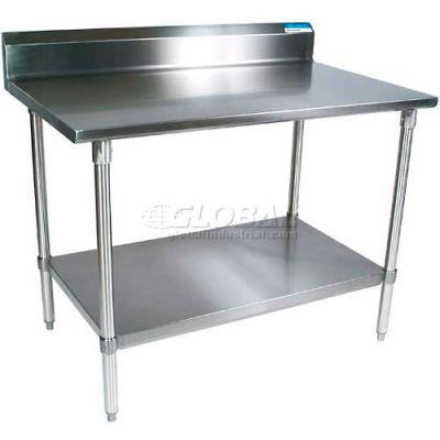 """BK Resources VTTR5-7230 18 Ga. Workbench Stainless Steel - 5"""" Backsplash & Galv. Undershelf 72 x 30"""