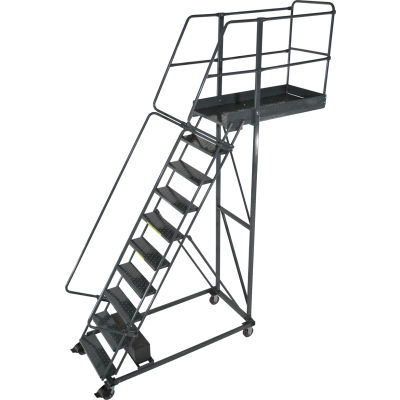 """Ballymore 10 Step Steel Cantilever Ladder -35"""" Overhang, Serrated Tread - CL-10-35-S"""