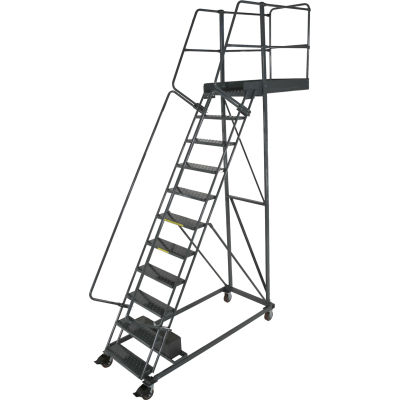 """Ballymore 11 Step Steel Cantilever Ladder -14"""" Overhang, Serrated Tread - CL-11-14-S"""