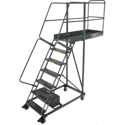 """Ballymore 7 Step Steel Cantilever Ladder -35"""" Overhang, Perforated Tread - CL-7-35-P"""
